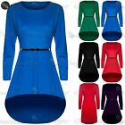 Womens Ladies Stretchy Flared Franki Dip Hem Hi Lo Mini Skater Dress Plus Size
