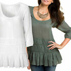Ladies White / Green Cotton Top UK Sizes 6 - 20 Light Summer Frill Tunic Plus