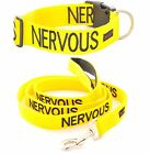 Buckle Pet Dog Collar Leash Set Color Coded NERVOUS Yellow Warning Heavy Duty