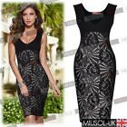 Womens Celeb Sexy V Neck Black Lace Club Wear Bodycon Party Evening Dresses 8126