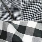 Black & White Corded Polycotton Gingham Fabric - 3 Sizes *Per Metre