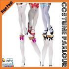Womens Ladies Sexy White Knee High Stockings With White Red Pink Black Blue Bows