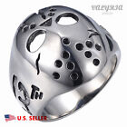 New Men's 316L Stainless Steel Silver Mask Punk Gothic Rock Harley Biker Ring