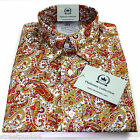 Relco Mens Platinum White Mustard Red Paisley Long Sleeved Button Down Shirt Mod