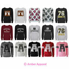 NEW LADIES SLOGAN LOGO SWEATSHIRT FLEECE GRAPHIC TOP JUMPERS SIZES 8-14