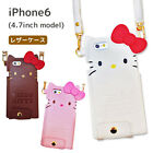 Hello Kitty iPhone 6 6S Leather cover case neck strap white pink Sanrio Japan