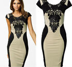 Fashion Sexy Women's Lace Short Sleeve Slim Bodycon Party Cocktail Evening Dress