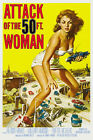 Vintage Sci-Fi  Movie Poster 1950s ATTACK OF THE 50 FOOT WOMAN Retro Atomic Era