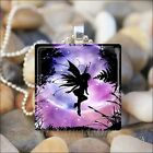 """PURPLE FAIRY MOON"" FANTASY PIXIE FOREST GLASS TILE PENDANT NECKLACE KEYRING"