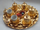 TURKISH COFFEE SET Mugs Delight Bowl Porcelain Tray Ottoman GOLD Tulip Garden