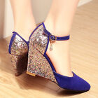 Womens fashion Sequins ankle strap wedge high heels Pointy Toe ankle party shoes