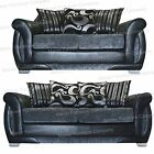 Shannon 2 and 3 Seater Sofa Grey Chenille and Black Faux Leather Fabrics