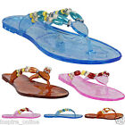 LADIES WOMENS  BEACH FASHION GIRLS SUMMER JELLY THONG FLIP FLOPS SANDALS SHOES