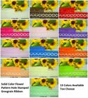 """1"""" INCH 25MM FLOWER PATTERN HOLE STAMPED GROSGRAIN RIBBON 5 YARDS - 13 COLORS"""
