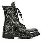 NEWROCK New Rock Women M.1423-S2 Black VINTAGE FLOWER 8 Hole Lace up Boots