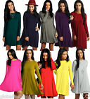 Ladies Swing Dress Mini Trapeze Long Sleeve Crew Neck Party Outfit Skater Lot
