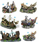 Aquarium Shipwreck Galleon Fish Cave Ornament Choice of 6 Fish Tank Decoration