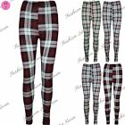 Womens Ladies Gill Tartan Checked Print Ankle Length Stretchy Leggings Plus Size