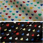 Cotton Corduroy Fabric with Multicoloured Hearts - Black Or Cream *Per Metre*