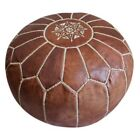 Moroccan Leather Pouf Avail in 4 Colors Hassock Ottoman Footstool Pouf
