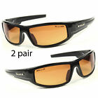 SPORT WRAP HD NIGHT DRIVING VISION SUNGLASSES YELLOW HIGH DEFINITION GLASSES L