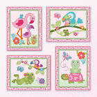 Tropical Flamingo Garden Nursery Art Prints.Turtle,Frog birds, flowers.Baby Girl