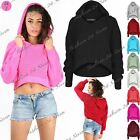 Womens Ladies Chunky Cable Knit Stretchy High Low Hood Hoody Hooded Cropped Top