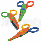 3PC ZIG ZAG SCISSORS CRAFT ART WORK PLASTIC WAVY SHEARS PATTERN COLOURFUL TOOL