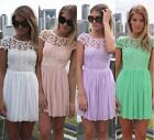 New Celeb Women Lace Chiffon Backless Pleated Party Evening Summer Beach Dresses
