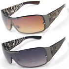 Eyelevel Womens Ladies Retro UV400 Sunglasses Shield Wrap Visor Brown Black
