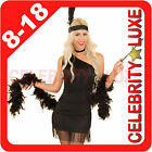 New 1920s Black Charleston Flapper Gangster Burlesque Fancy Dress Up Costume Boa
