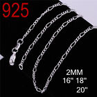 "High Fashion 925 sterling silver Necklace 16"",18"",20"" C-2"
