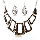 Alloy chunky hollow out women new fashion retro style collar necklace earrings