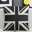 18x18'' Linen Pillow Cushion Cover Vintage Union Jack Queen Crown - 3 Patterns