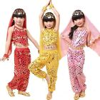 Girls Kids Belly Dance Costume Sparkly Circle Sequin Coins Top  Skirt Pants Set
