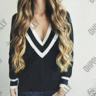 Women Black White Stripe Jumper Top Bodycon Knit V Neck Long Sleeve Ladies Dress