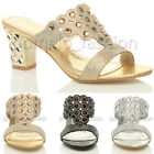 WOMENS LADIES MID HIGH BLOCK HEEL DIAMANTE PROM PARTY SLIP ON MULES SANDALS SIZE