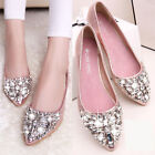 hot sale womens pumps rhinestones pointed toe flat shoes fashion loafers size