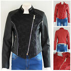 NEW Womens Floral Pattern Cropped Synthetic Leather Biker Jacket