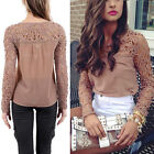 Nice New Womens Casual Long Sleeve Blouse Shirt Lace Crochet Emboriey Loose Tops