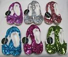 Snoozies Metallic Ballerina Women's Slippers Bling Soles Fleece Lining Non Skid