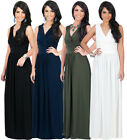 NEW Womens Elegant Sleeveless Cross Over Plus Size Long Maxi Dress XS S M L XL
