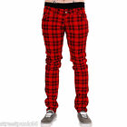 DRAINPIPE STRETCH SKINNY JEANS RED CHECKERED TARTAN MENS UNISEX PLAID ROCK NEW