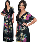 NEW Womens VNeck Kimono Floral Printed Cocktail Plus Size Maxi Dress S M L XL