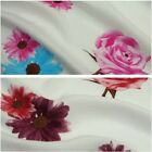 Ivory 100 % Viscose Fabric with Roses & Daisies Print - 2 Colours *Per Metre*