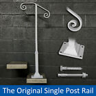 Single Post 1 or 2 step railing for stairs steel handrail $150 with hardware!