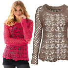 Size 12 - 28 Ladies Coral Pink or Beige Holey Crochet Knit Jumper - Plus sizes