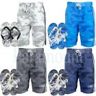 Smith & Jones Camo Print Swim Shorts & Flip Flops Set  Mens Size