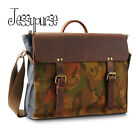 Cowhide Leather Canvas Briefcase Messenger Handbag Tote Bag