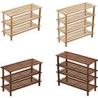 NEW 3/4 TIER WOODEN SLATTED SHOE RACK STAND ORGANISER STORAGE WOOD SHELF UNIT